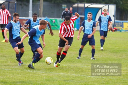 24/09/2016. Spelthorne Sports v Guildford City. Guildford City Dan HARDING's shot blocked