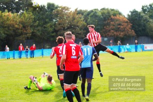 24/09/2016. Spelthorne Sports v Guildford City. Guildford City Tom Booth heads just over