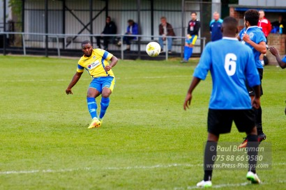 15/10/2016. Colliers Wood United v Guildford City. City's Ibby AKANBI shoots