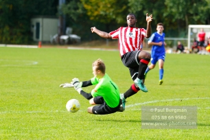 22/10/2016. Guildford City v North Greenford United. City's Mike DIXON is beaten by the keeper