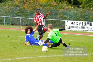 22/10/2016. Guildford City v North Greenford United. City's Mike DIXON beats the keeper, but shot creeps just wide
