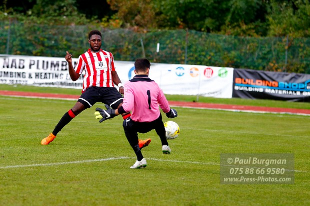 08/10/2016. Guildford City FC v Windsor FC. City' Marcel HENRY-FRANCIS scores