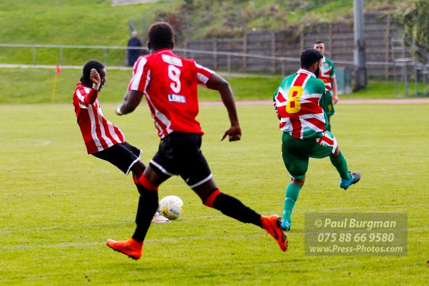 08/10/2016. Guildford City FC v Windsor FC. City's Kiye MARTIN scores