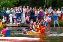 3/07/2016. Elstead Paper Boat Race, Elstead Moat. Action from the races.