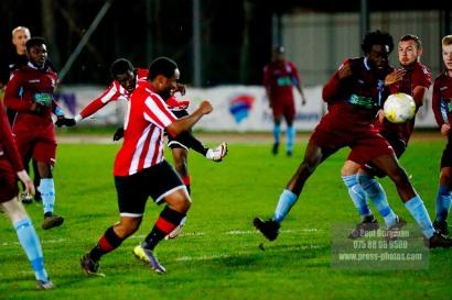 14/12/2016. Guildford City v Horley Town. Surrey Senior Cup. Kiye Martin shoots