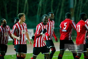 14/12/2016. Guildford City v Horley Town. Surrey Senior Cup Kiye Martin celebrates