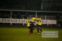 6/12/2016. Farnham Town v Guildford City FC. Leon Lalor-Dell scores City's second