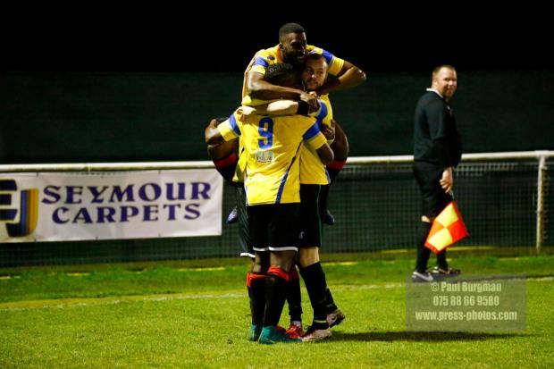 Epsom & Ewell v GCFC, Surrey Senior Cup. Goal scorer Mario Embalo celebrates