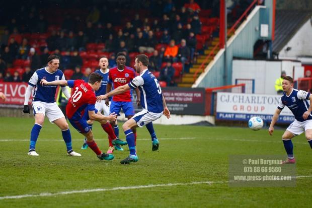 11/02/2017. Aldershot Town v Barrow AFC. AldershotÕs Matt McCLURE scores