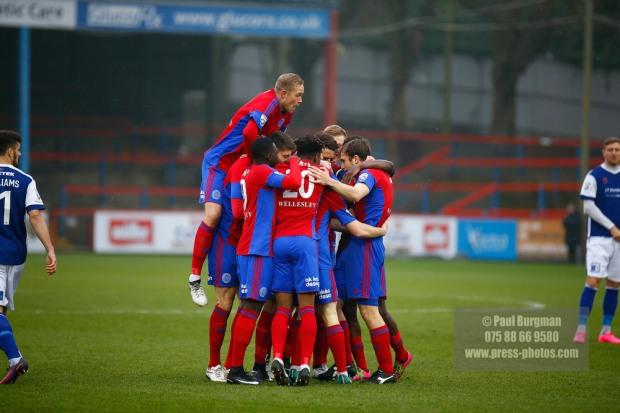 11/02/2017. Aldershot Town v Barrow AFC. AldershotÕs Matt McCLURE celebrates