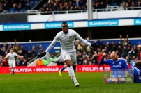 04/03/2017. QPR v Cardiff City. Action from the Match Yeni NGBAKOTO celebrates