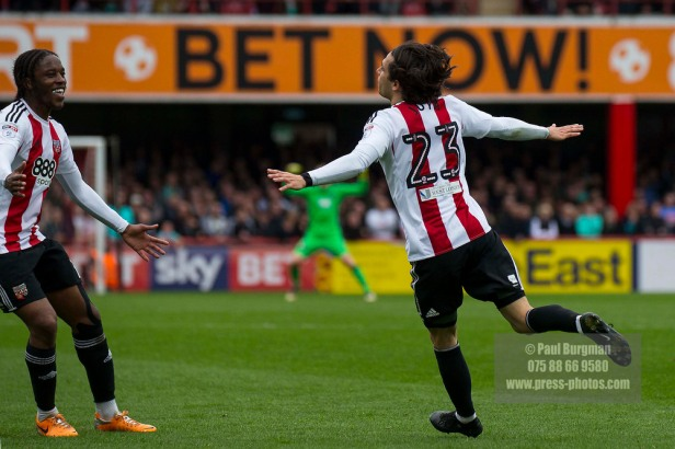 14/04/2017. Brentford FC v Derby County FC. Match Action. Brentford's Jota celebrates