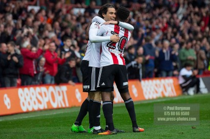 14/04/2017. Brentford FC v Derby County FC. Match Action. Brentford's Jota celebrates