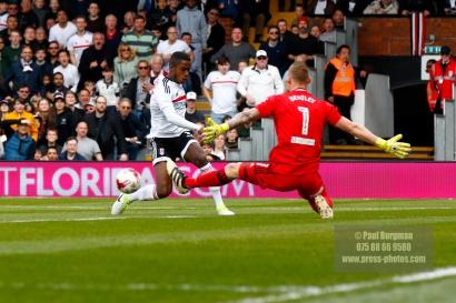 29/04/2017. Fulham v Brentford. Fulham's Ryam SESSEGNON Brentford's Goalkeeper Daniel BENTLEY