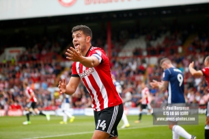 12/08/2017 Brentford v Nottingham Forest at Griffin Park. BrentfordÕs John EGAN appeals for penalty
