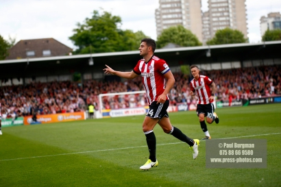 12/08/2017 Brentford v Nottingham Forest at Griffin Park. BrentfordÕs John EGAN celebrates