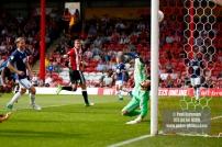 12/08/2017 Brentford v Nottingham Forest at Griffin Park. BrentfordÕs Andreas BJELLAND scores
