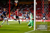 12/08/2017 Brentford v Nottingham Forest at Griffin Park. BrentfordÕs Andreas BJELLAND scores