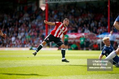 12/08/2017 Brentford v Nottingham Forest at Griffin Park. BrentfordÕs Neal MAUPAY scores