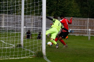 2008/2017 Guildford City FC v Camberley Town. FA Cup. City 4-0 Winners. City's Dan STEWART goes close