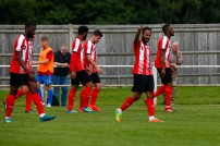 2008/2017 Guildford City FC v Camberley Town. FA Cup. City 4-0 Winners. City's Kieran Campbell celebrates scoring city's first