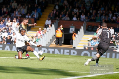 19/08/2017 Fulham v Sheffield Wednesday. Fulham's Ryan SESSEGNON just fails to connect with Fulham's Rui FONTE'S cross