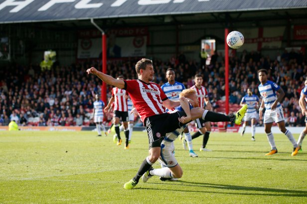 16/09/2017. Brentford FC v Reading FC. Action from SkyBet Championship Match at Griffin Park. Brentford's Andreas BJELLAND shoots over