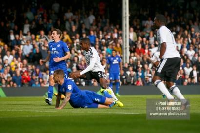 09/09/2017. Fulham v Cardiff City. Sky Bet Championship League Action. Fulham's Ryan SESSEGNON scores
