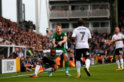 14/10/2017. Fulham v Preston North End. Action from the Sky Bet Championship. FulhamÕs Denis ODOI fouled
