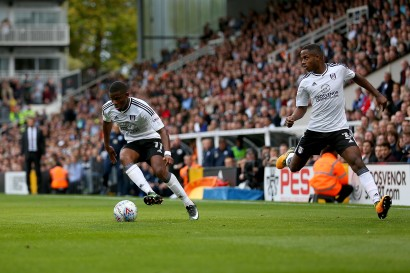 14/10/2017. Fulham v Preston North End. Action from the Sky Bet Championship. FulhamÕs Floyd AYITE & FulhamÕs Ryan SESSEGNON
