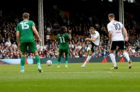 14/10/2017. Fulham v Preston North End. Action from the Sky Bet Championship. FulhamÕs Yohan MOLLO shoots