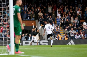 14/10/2017. Fulham v Preston North End. Action from the Sky Bet Championship. FulhamÕs Denis ODOI celebrates equaliser