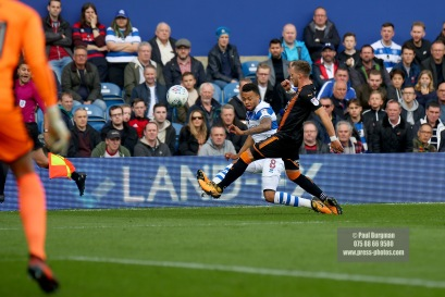 28/10/2017. Queens Park Rangers v Wolverhampton Wanderers. Match action from the Sky Bet Championship. QPRÕs Jordan COUSINS crosses