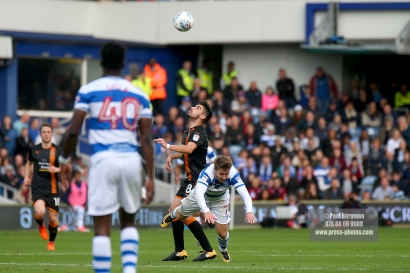 28/10/2017. Queens Park Rangers v Wolverhampton Wanderers. Match action from the Sky Bet Championship. QPRÕs Luke FREEMAN fouled