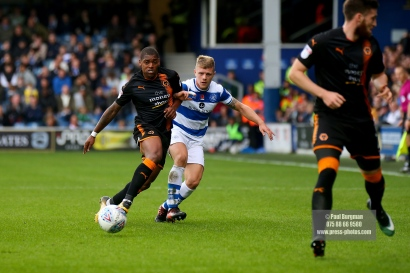 28/10/2017. Queens Park Rangers v Wolverhampton Wanderers. Match action from the Sky Bet Championship. QPRÕs Jake BIDWELL