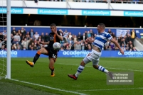 28/10/2017. Queens Park Rangers v Wolverhampton Wanderers. Match action from the Sky Bet Championship. QPRÕs Conor WASHINGTON scores