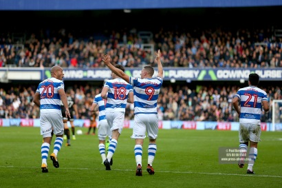 28/10/2017. Queens Park Rangers v Wolverhampton Wanderers. Match action from the Sky Bet Championship. QPRÕs Conor WASHINGTON celebrates