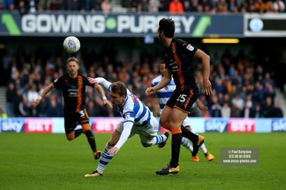 28/10/2017. Queens Park Rangers v Wolverhampton Wanderers. Match action from the Sky Bet Championship. QPRÕs Luke FREEMAN