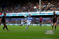 28/10/2017. Queens Park Rangers v Wolverhampton Wanderers. Match action from the Sky Bet Championship. QPRÕs Conor WASHINGTON shoots