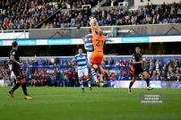 28/10/2017. Queens Park Rangers v Wolverhampton Wanderers. Match action from the Sky Bet Championship. QPRÕs Matt SMITH battles with WolvesÕ Goalkeeper John RUDDY