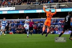 28/10/2017. Queens Park Rangers v Wolverhampton Wanderers. Match action from the Sky Bet Championship. QPRÕs Matt SMITH lobbs WolvesÕ Goalkeeper John RUDDY but can't find the net