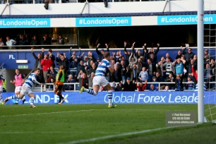 28/10/2017. Queens Park Rangers v Wolverhampton Wanderers. Match action from the Sky Bet Championship. QPRÕs Matt SMITH celebrates