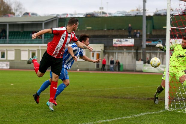 11/11/2017. Guildford City v Camberley Town. City's Luke BEALE scores