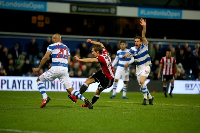 27/11/2017. QPR v Brentford. Action from the SkyBet Championship. Brentford's Lasse VIBE scores