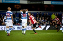 27/11/2017. QPR v Brentford. Action from the SkyBet Championship. Brentford's Lasse VIBE celebrates