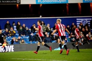 27/11/2017. QPR v Brentford. Action from the SkyBet Championship. Brentford's Lasse VIBE celebrates