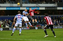 27/11/2017. QPR v Brentford. Action from the SkyBet Championship. Brentford's Andreas BJELLAND heads wide