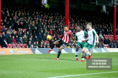 16/12/2017. Brentford FC v Barnsley FC. SkyBet Championship Football Action from Griffin Park Brentford's Ollie WATKINS crosses