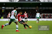 16/12/2017. Brentford FC v Barnsley FC. SkyBet Championship Football Action from Griffin Park Brentford's Ollie WATKINS shoots