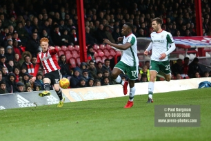 16/12/2017. Brentford FC v Barnsley FC. SkyBet Championship Football Action from Griffin Park Brentford's Ryan WOODS crosses
